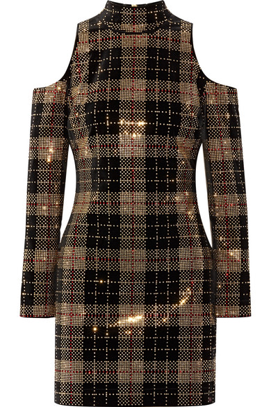 889a7ba6509e Balmain | Cold-shoulder crystal-embellished velvet mini dress | NET ...