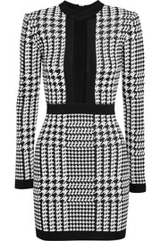 Balmain Houndstooth mesh-trimmed stretch-knit mini dress