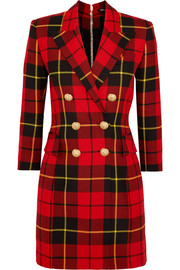 Balmain Tartan wool mini dress
