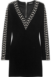 Balmain Studded velvet mini dress