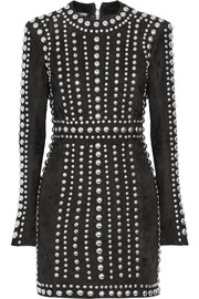 Studded suede mini dress