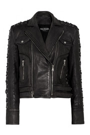 Lace up-detailed textured-leather biker jacket