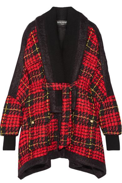 Balmain - Oversized Tartan Tweed Jacket - Crimson