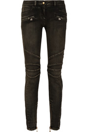 Balmain Halbhohe Skinny Jeans in Distressed-Optik