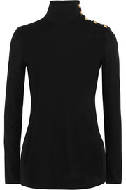Balmain Button-detailed wool turtleneck sweater