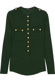 Balmain Button-detailed wool and silk-blend jersey top