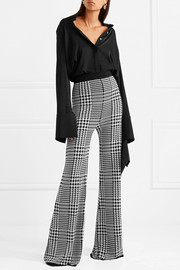 Houndstooth stretch-knit wide-leg pants