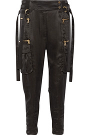 Balmain Cropped stretch-jersey paneled satin-twill tapered pants