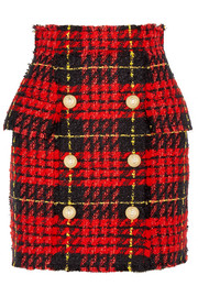 Balmain Button-embellished tartan tweed mini skirt