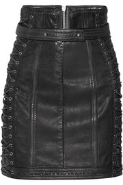 Balmain Lace-up textured-leather mini skirt