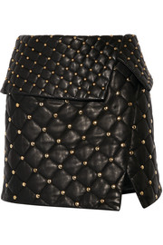 Balmain Asymmetric studded quilted leather mini skirt