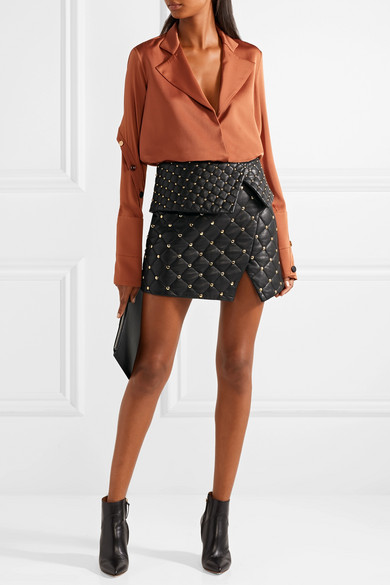 Balmain | Asymmetric studded quilted leather mini skirt | NET-A ... : quilted leather skirt - Adamdwight.com