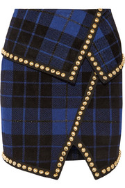 Asymmetric embellished tartan jacquard-knit mini skirt