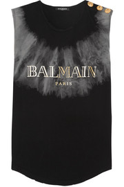 Balmain Button-embellished tie-dyed cotton-jersey top