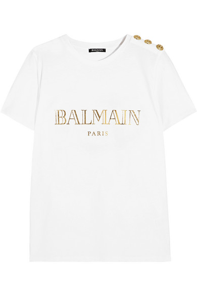 Buy Cheap Buy white buttoned logo print t shirt Balmain Discount Ebay Cheap Sale The Cheapest Cheap Sale Best Place Free Shipping Deals cN1khAcOV