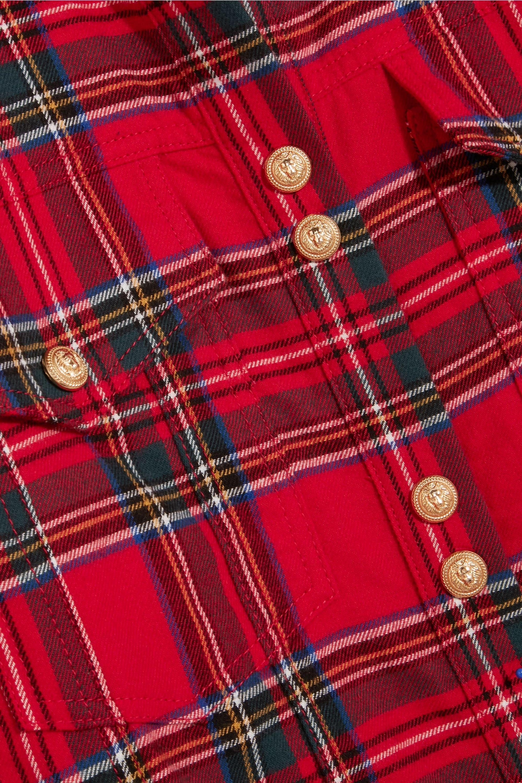 Balmain Button-detailed tartan cotton shirt