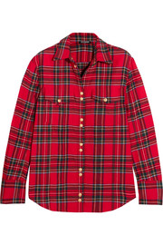 Balmain Button-detailed tartan cotton shirt