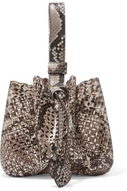 Laser-cut python and metallic leather bucket bag