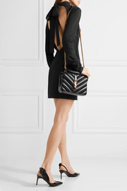 Saint Laurent College medium quilted leather and suede shoulder bag