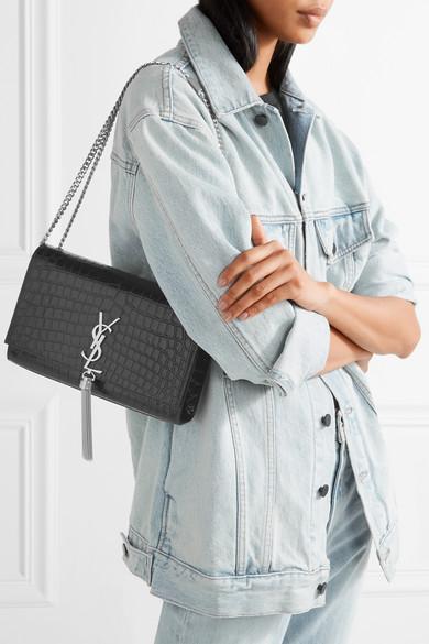 598c8463ee Saint Laurent. Monogramme Kate medium croc-effect leather shoulder bag.   2