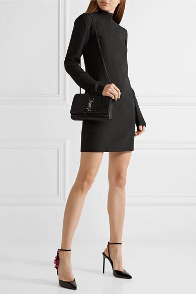Saint Laurent Monogramme Kate mittelgroße Schultertasche aus Satin mit Paillettenverzierung