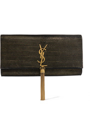 Saint Laurent Monogramme Kate metallic-striped suede shoulder bag
