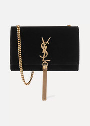 Saint Laurent Sac porté épaule en velours Kate Monogramme