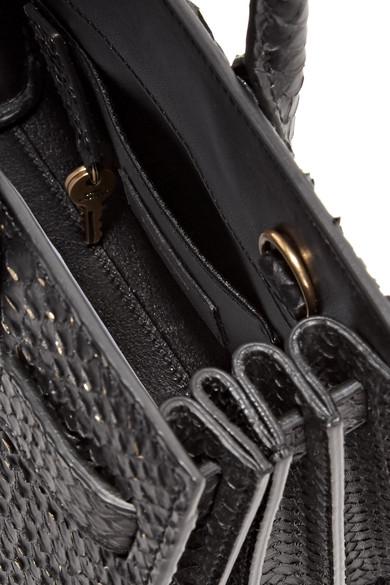 Saint Laurent Sac De Jour Nano verzierte Tote aus Pythonleder