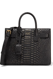 Saint Laurent Sac à main en python à ornements Sac De Jour Nano