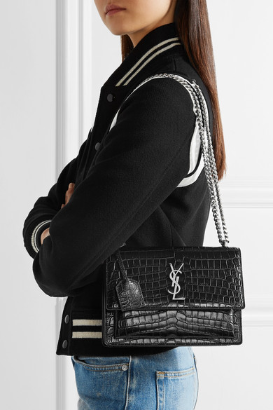 Saint Laurent. Sunset medium croc-effect leather shoulder bag. £1 17551b5f0f96e