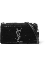 West Hollywood leather-trimmed sequined satin shoulder bag