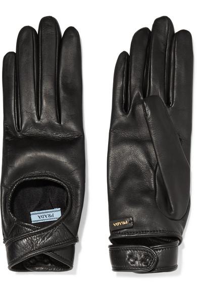Prada - Cutout Leather Gloves - Black