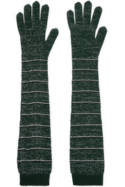 Striped metallic wool-blend gloves