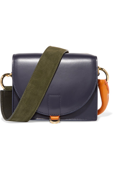 Sacai - Satchel Suede And Leather Shoulder Bag - Navy