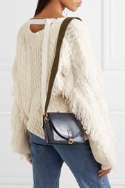 Satchel suede and leather shoulder bag