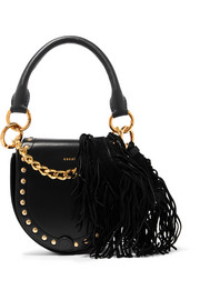 Horseshoe small suede-trimmed studded leather shoulder bag