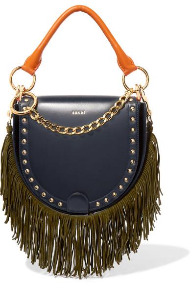 Sacai - Horseshoe Suede-trimmed Studded Leather Shoulder Bag - Navy