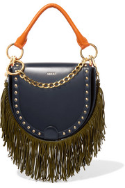 Horseshoe suede-trimmed studded leather shoulder bag