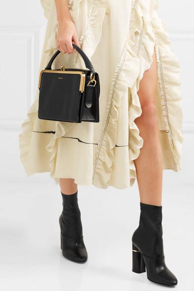 Sacai Satchel Schultertasche aus Glanzleder und strukturiertem Leder