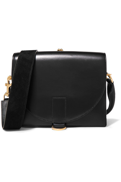 Sacai - Satchel Glossed And Textured-leather Shoulder Bag - Black
