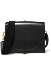 Satchel glossed and textured-leather shoulder bag