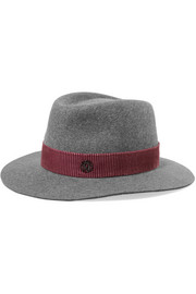André striped velvet-trimmed rabbit-felt fedora