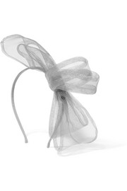 Maison Michel Angie tulle-trimmed grosgrain headband