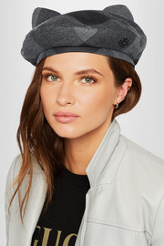 Maison Michel Billy plaid wool and cotton-blend flannel beret