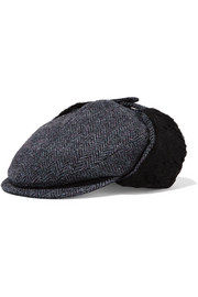 Wyatt shearling-lined herringbone cotton, wool and alpaca-blend hat
