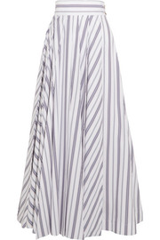 Striped cotton-poplin maxi skirt