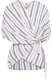 Striped cotton-poplin wrap top