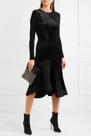Full Circle stretch knit-paneled velvet dress