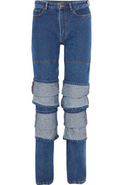 Layered high-rise straight-leg jeans