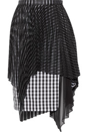 Layered jacquard, gingham cotton and chiffon skirt